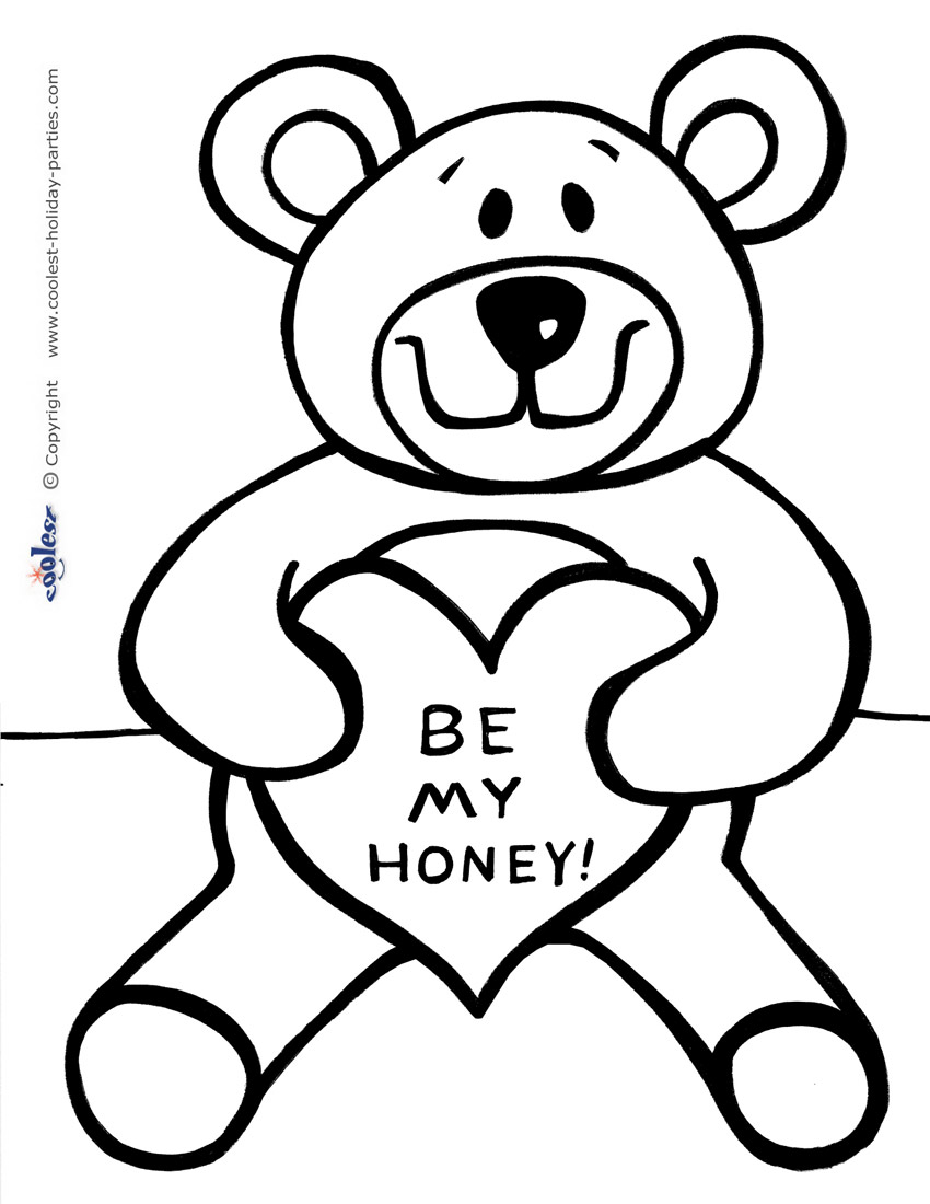 850x1100 Valentine Teddy Bear Coloring Pages