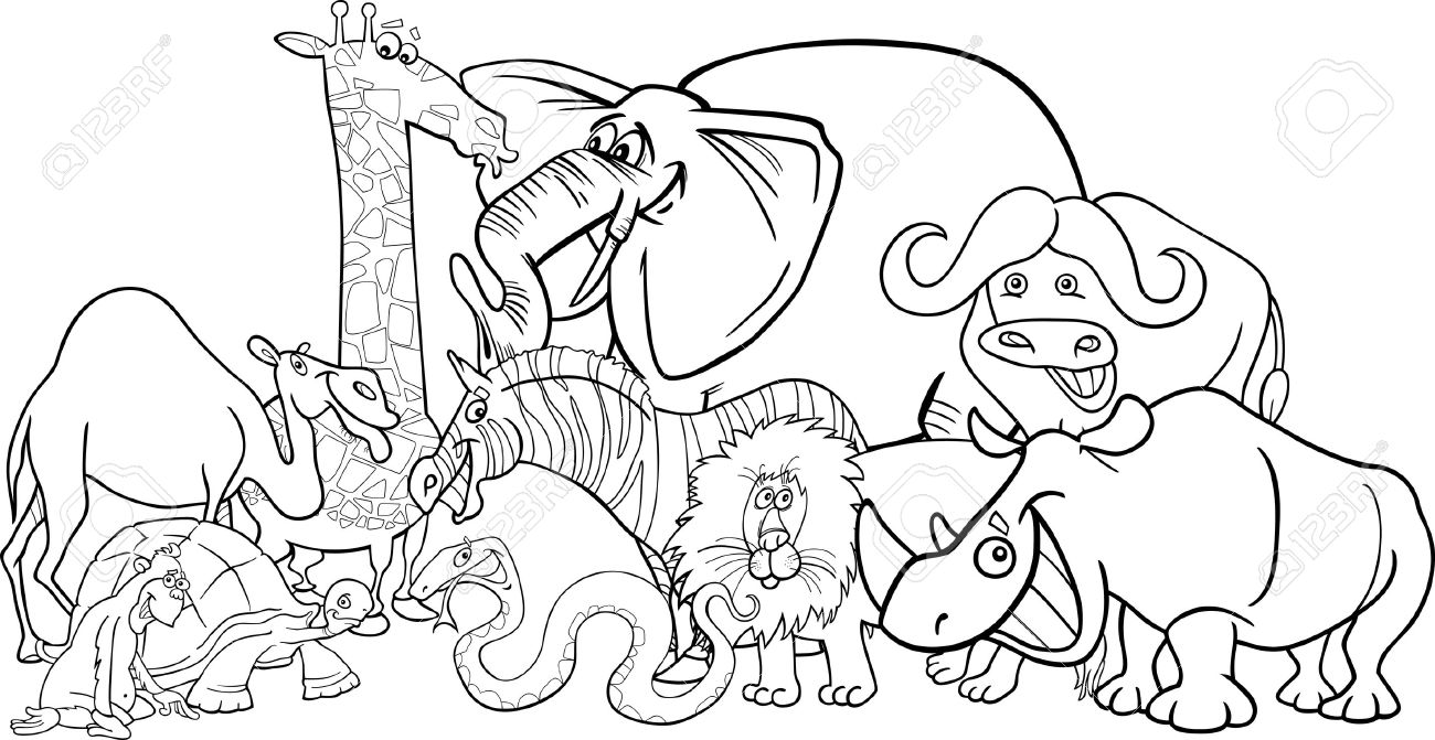 1300x671 Black And White Cartoon Illustration Of Funny African Safari