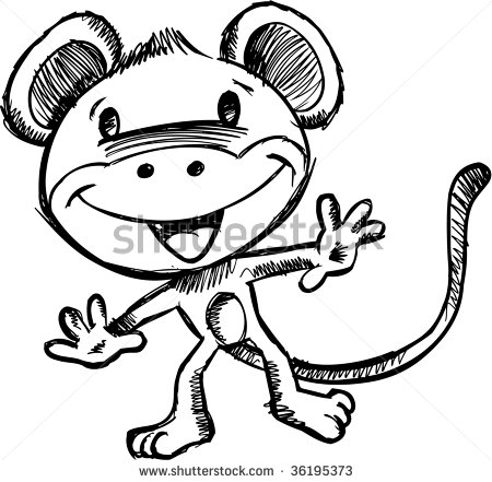 450x441 Doodle Sketchy Safari Monkey Vector How To Doodle