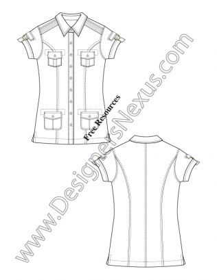 316x409 Flat Fashion Sketch V13 Short Sleeve Safari Shirt With Buckle
