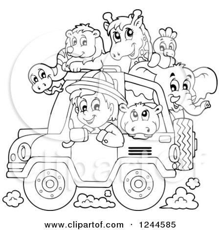 450x470 Clipart A Black And White Safari Boy Driving A Jeep Full