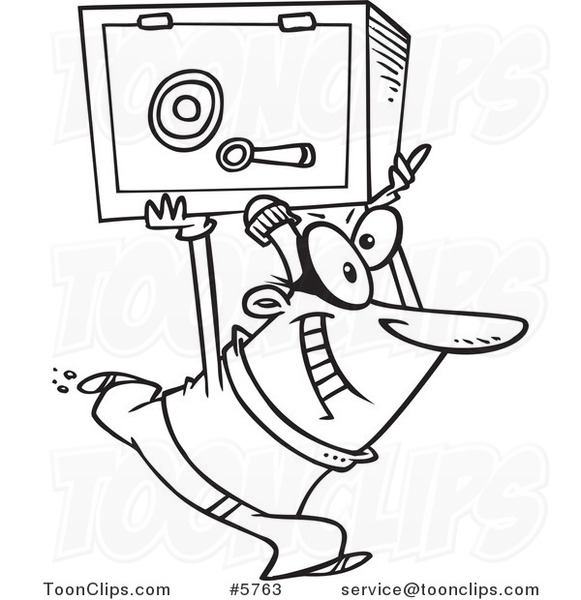 581x600 Cartoon Black And White Line Drawing Of A Robber Heisting A Safe