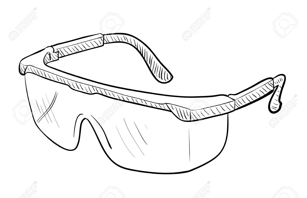 1300x837 Safety Goggles Drawing Royalty Free Cliparts, Vectors, And Stock