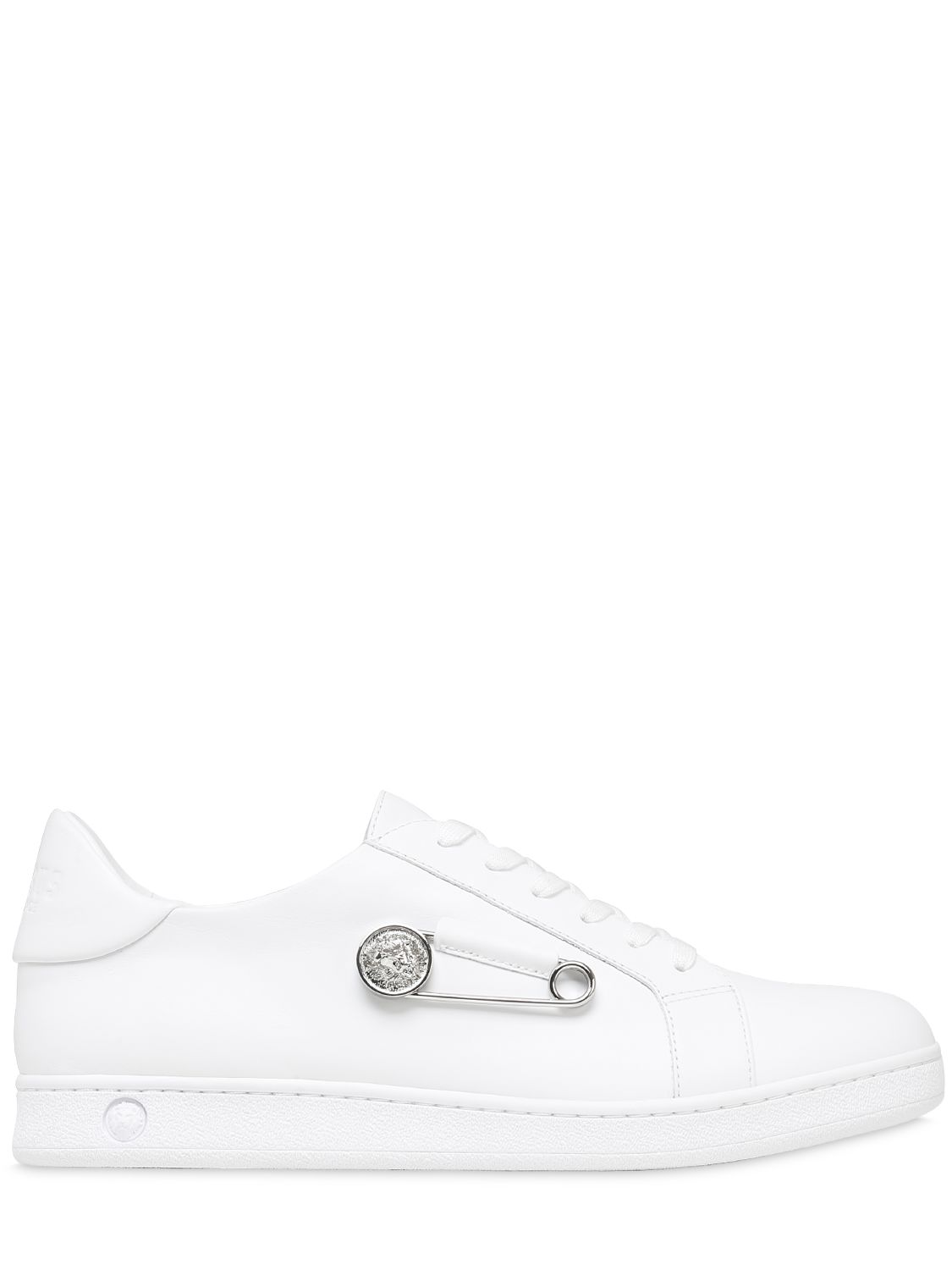 1125x1500 Versus Safety Pin Leather Sneakers White Men Shoes [M65i Bqp001