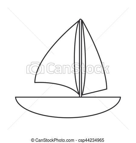 450x470 Sailboat Navigation Water Recreation Thin Line Vector Clip Art