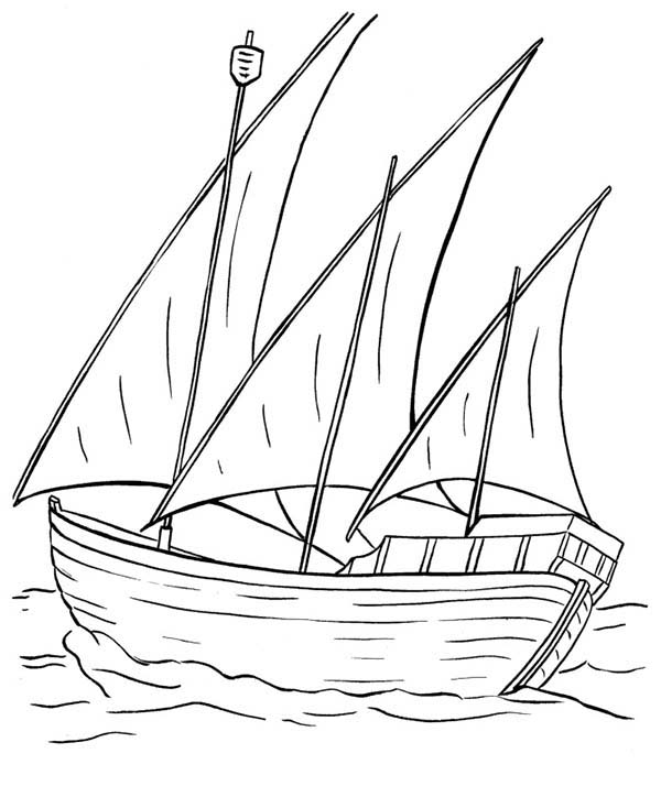 600x734 Sailing Boat Sail Ove The Sea Coloring Pages Batch Coloring