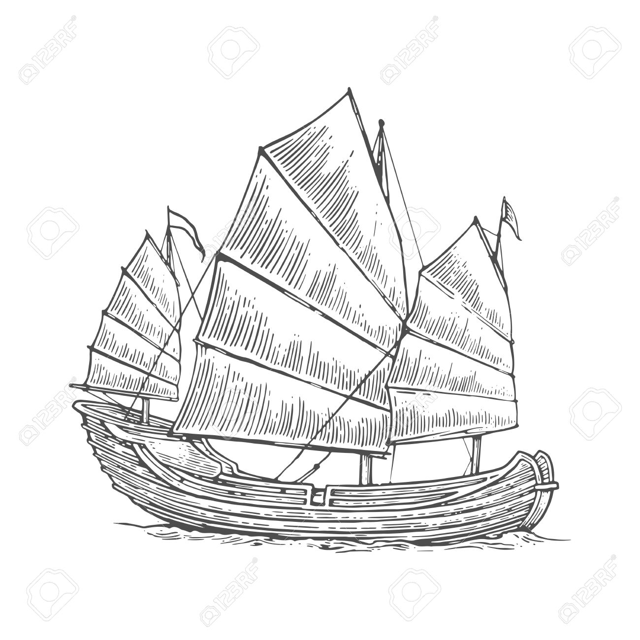 1300x1300 Junk Floating On The Sea Waves. Hand Drawn Design Element Sailing
