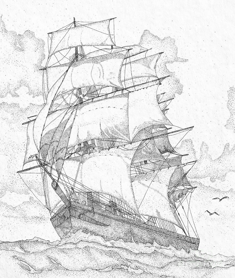 761x900 Old Sailing Ship Drawing By Carol Mcgunagle
