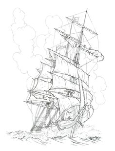 236x309 Old Tall Ship, Sail Ship Sketch. Original Art, Graphite Pencil