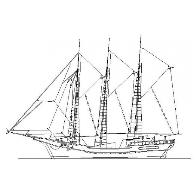 645x645 Sailing Ship Cad Block