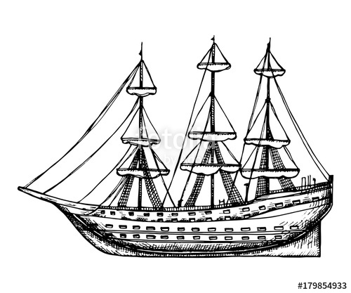 500x417 Ship Vintage Wooden With Sails Vector Sketch. Hand Drawing