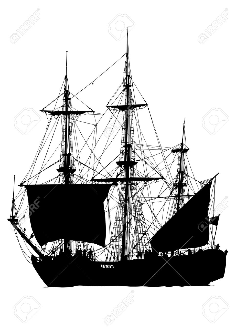 918x1300 Vector Drawing Old Sailing Ship. Silhouette On White Background