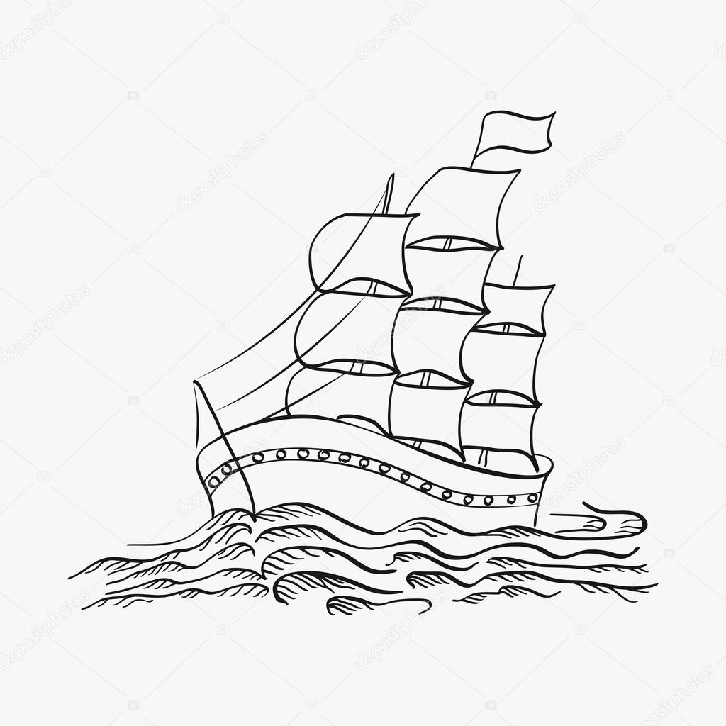 1024x1024 Vector Illustration Of A Ship Sailing On The Sea On A White