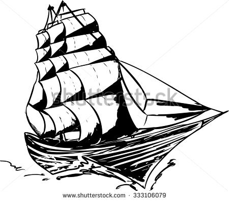 450x394 Drawn Yacht Clipper Ship