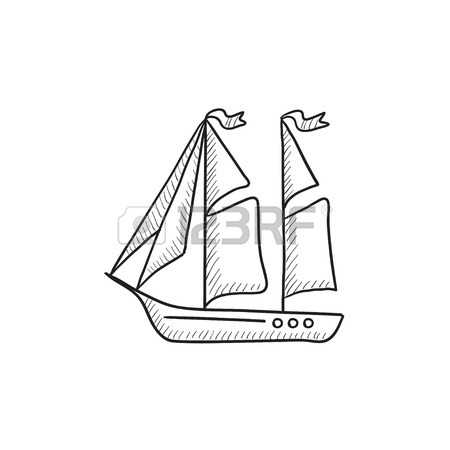 450x450 Sailboat Vector Sketch Icon Isolated On Background. Hand Drawn