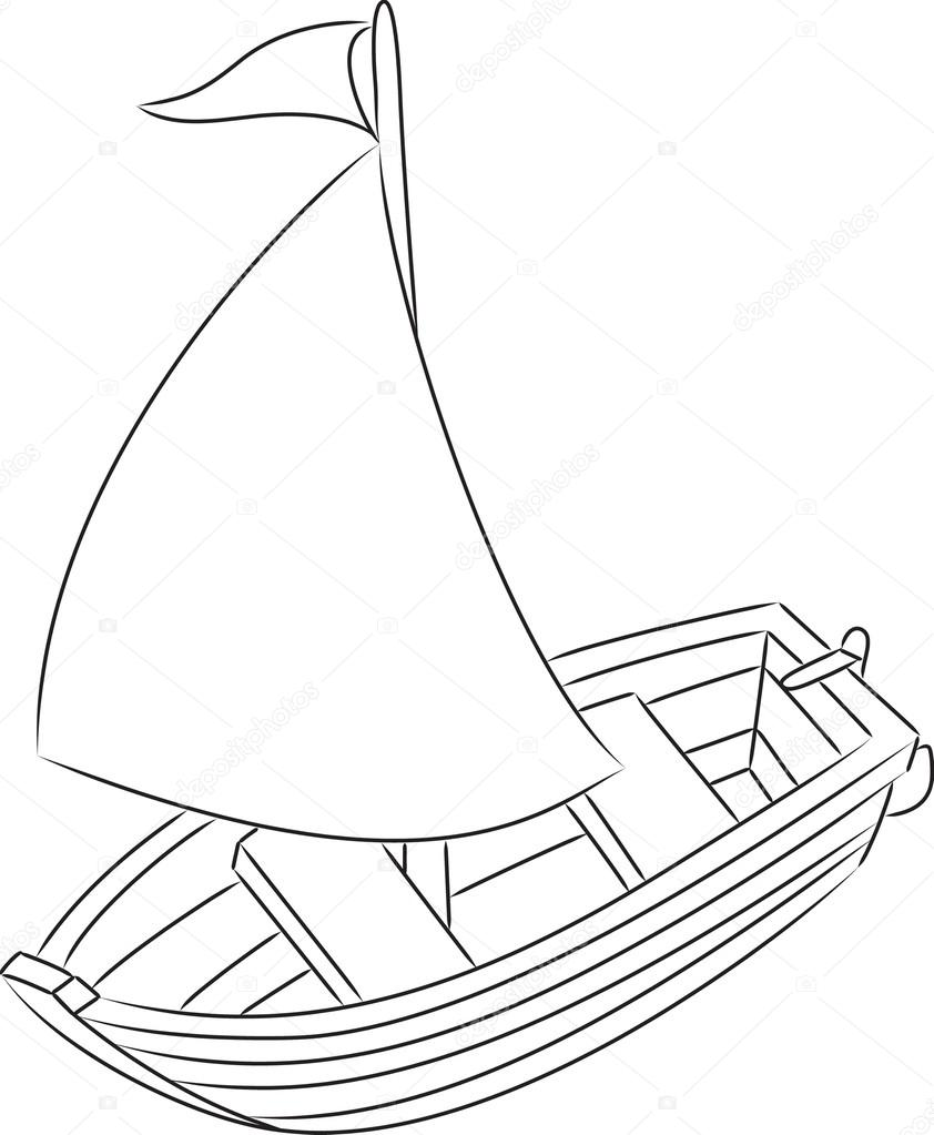842x1023 Sailboat. Coloring Book Stock Vector Arnica83