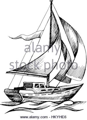 300x411 Sailing Boat Vector Sketch Isolated Stock Vector Art