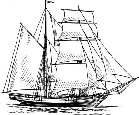 445x368 Sailboat Clip Art