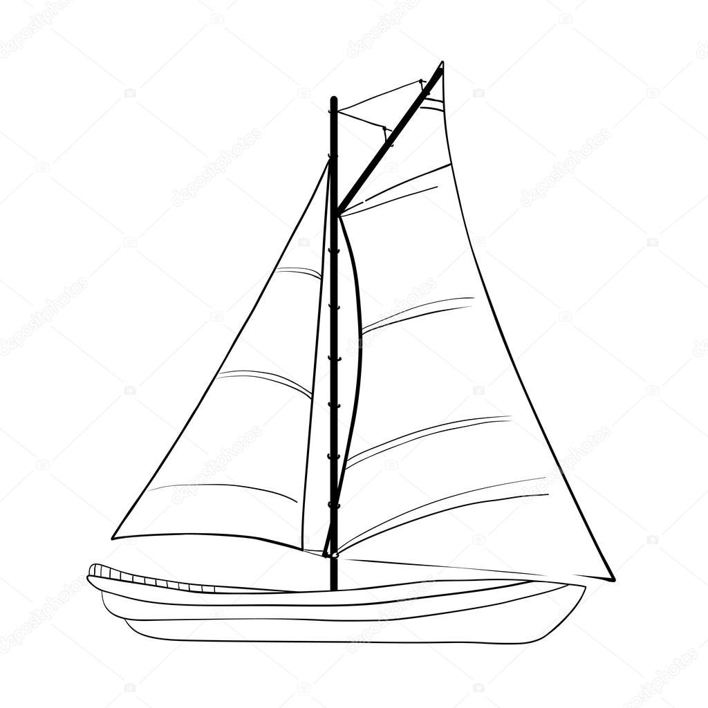 1024x1024 Contour Of Sailboat Isolated On White. Stock Vector