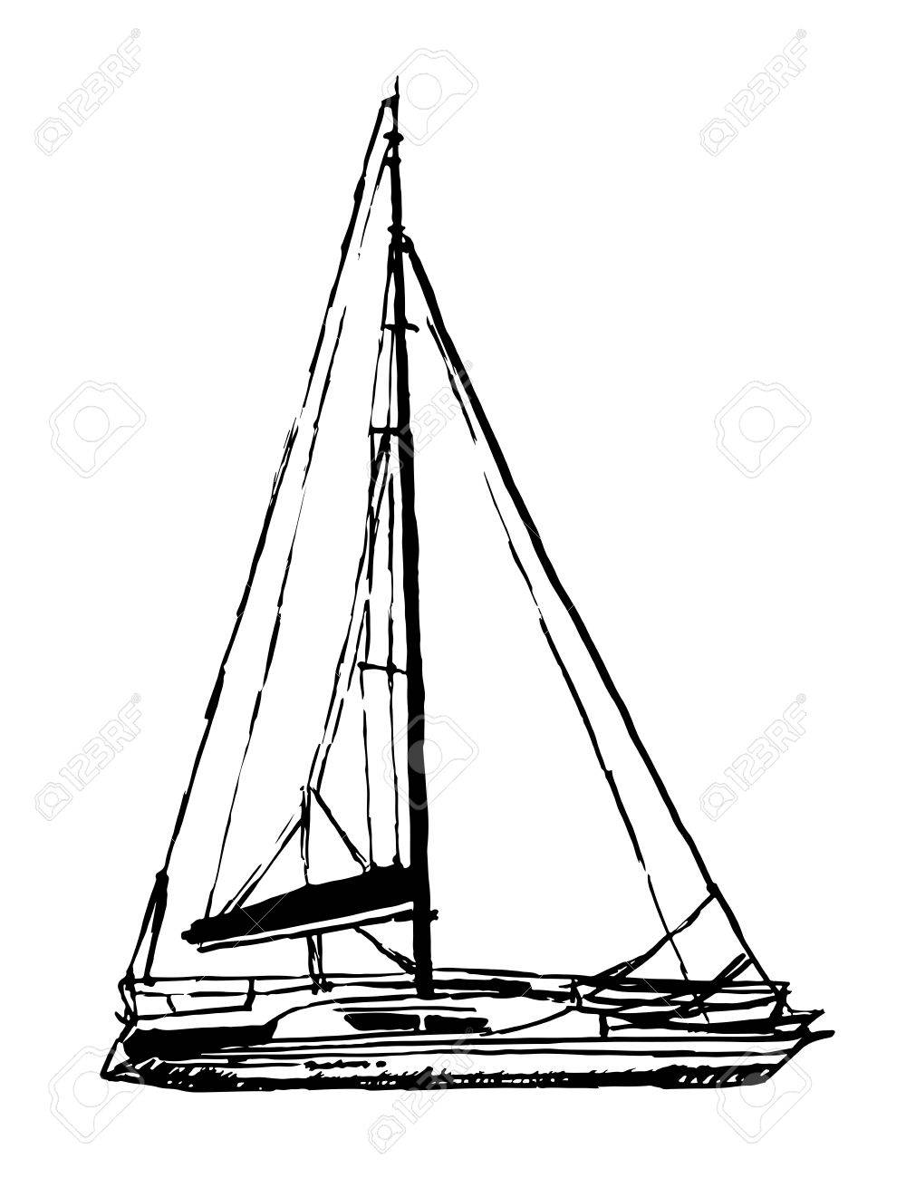 1000x1300 Drawing Light Sailing Yacht Sketch Hand Drawn Graphics Inks Vector