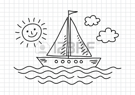 450x318 Drawing Of Sailboat On Squared Paper Royalty Free Cliparts