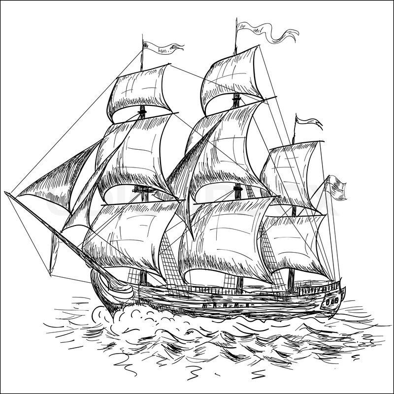 800x800 Drawn Sailing Boat Vector