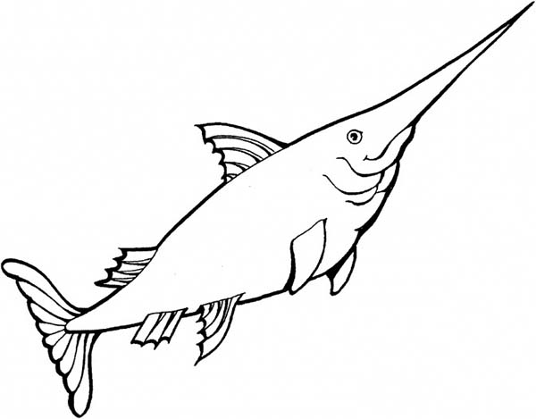 600x469 Kid Drawing Of Swordfish Coloring Page Color Luna