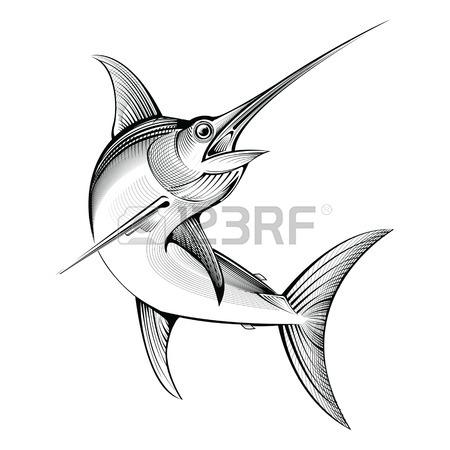 450x450 Vector Swordfish. Line Engraving Illustration Royalty Free