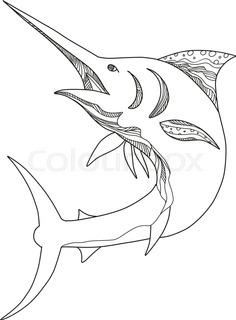 236x320 Cartoon Swordfish With Sea Life Background Stock Vector Colourbox
