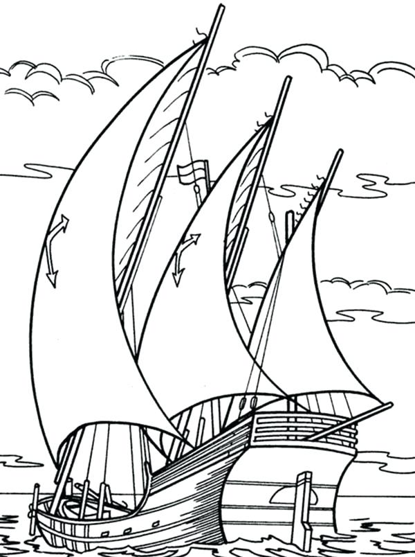 600x804 Coloring Page Boat Sailing Boat Drive Through Ocean Coloring Pages