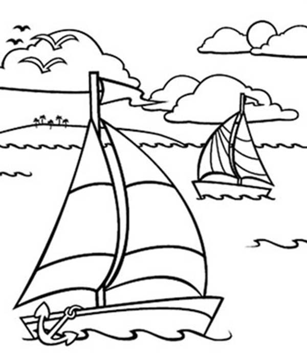 600x704 Sailing Boat, Sailing Boat In The Ocean Coloring Pages Sailing