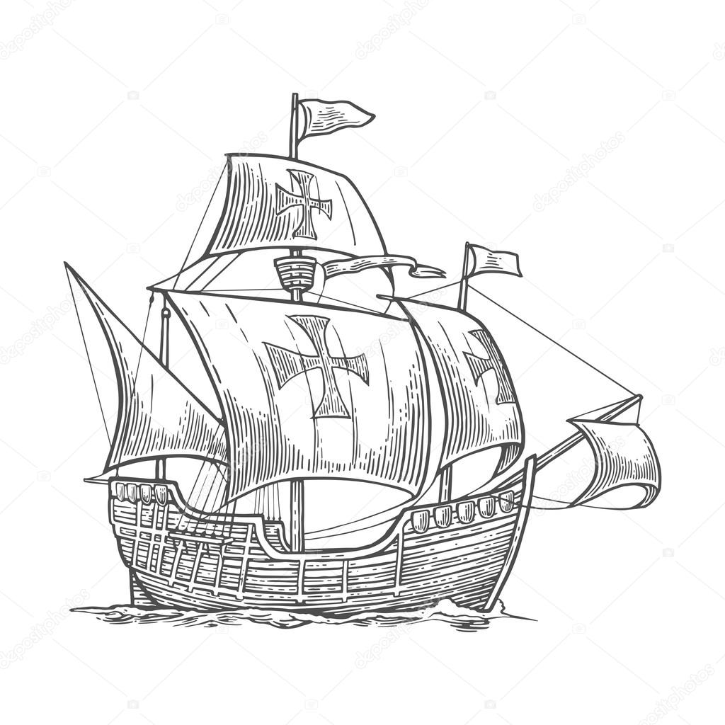 1024x1024 Sailing Ship Floating On The Sea Waves. Caravel Santa Maria