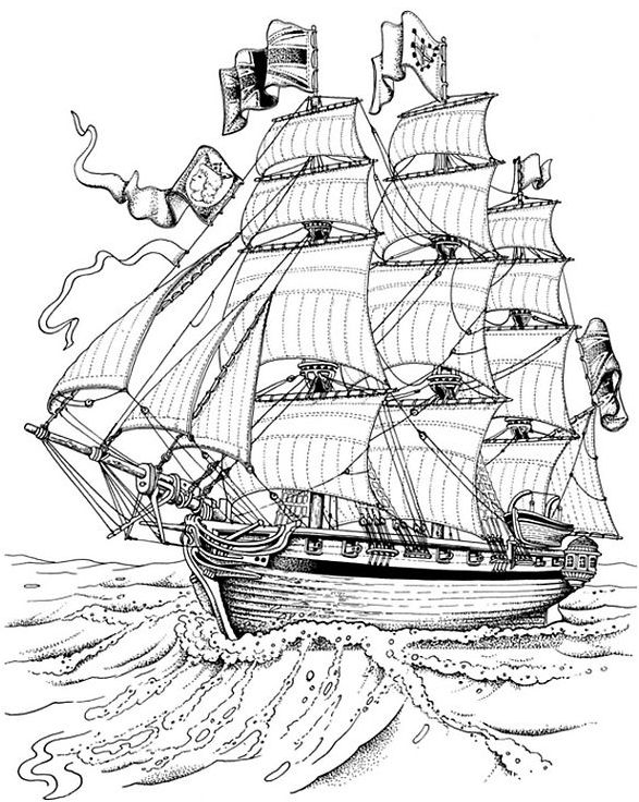 Sailing Ship Line Drawing