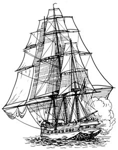 236x300 Old Ship Line Drawing Frigate 001 Png Boats