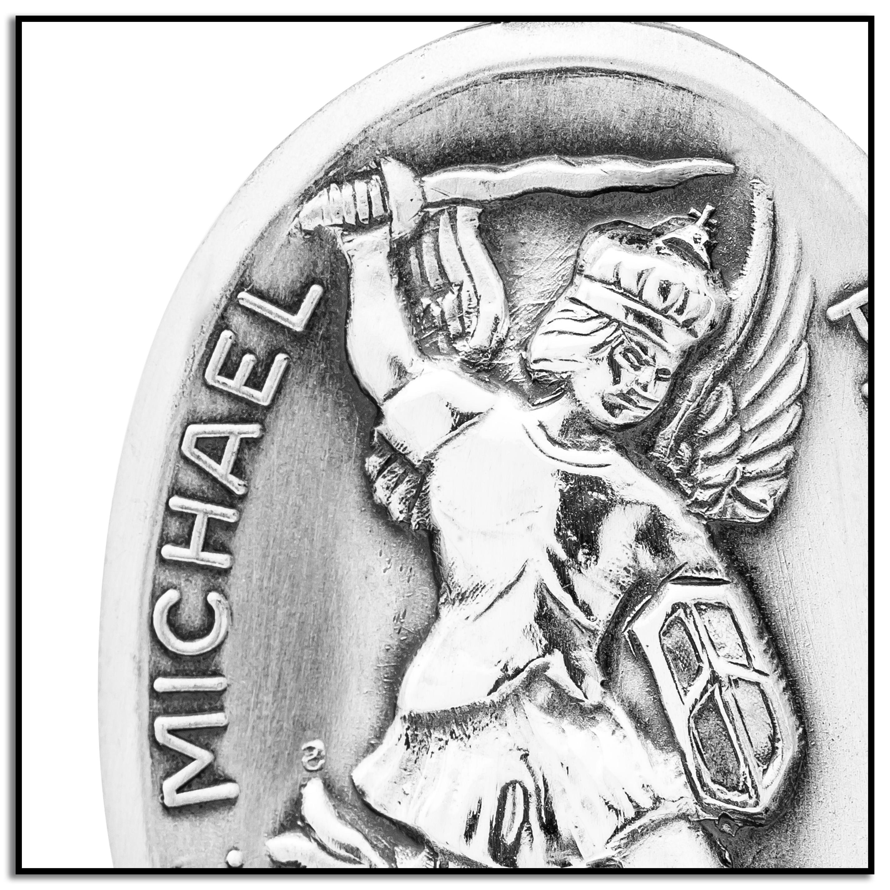 2850x2850 Sterling Silver Oval Saint Michael Medal