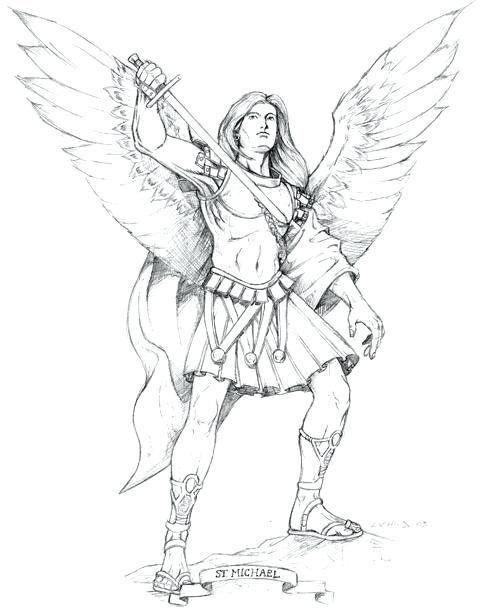 Saint michael drawing at free for for Archangel michael coloring page