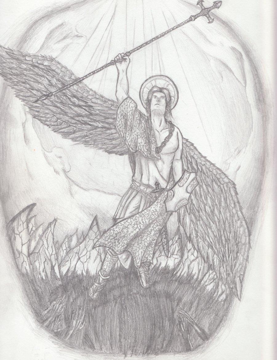 900x1171 St. Michael Tattoo Draft By Tbn8r