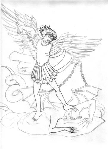 363x500 St. Michael And The Devil By Crazed Fangirl