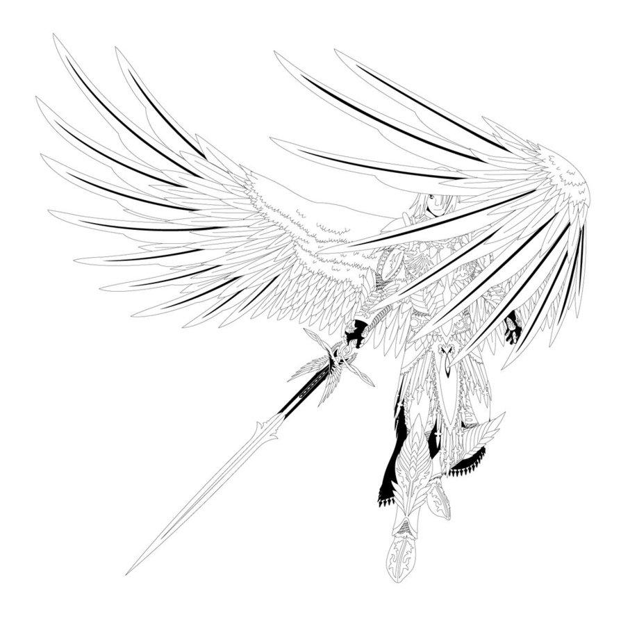 894x894 Archangel Michael Lineart By Ex Shadow