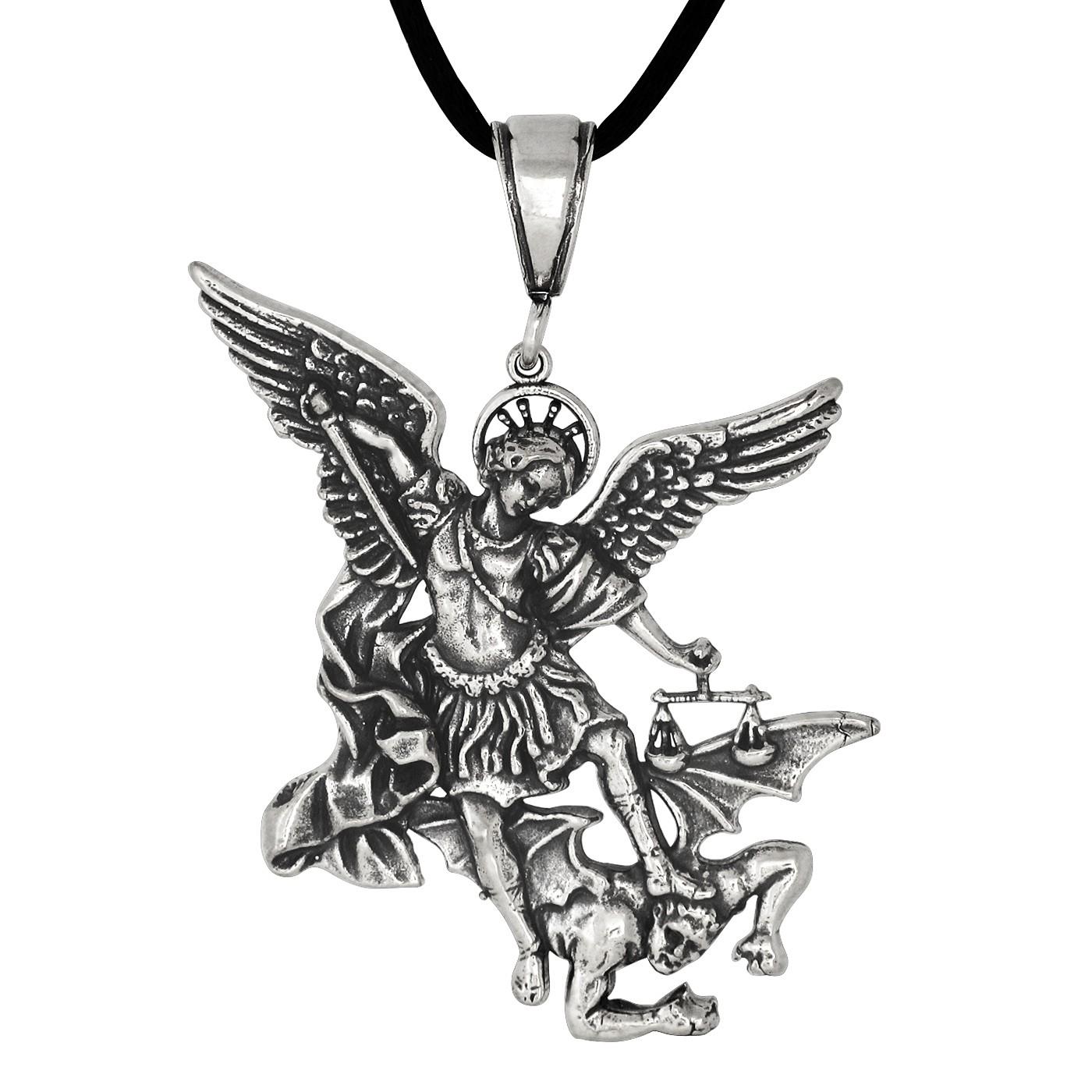 1400x1400 Sterling Silver Oxidized Saint Michael Archangel Pendant Necklace