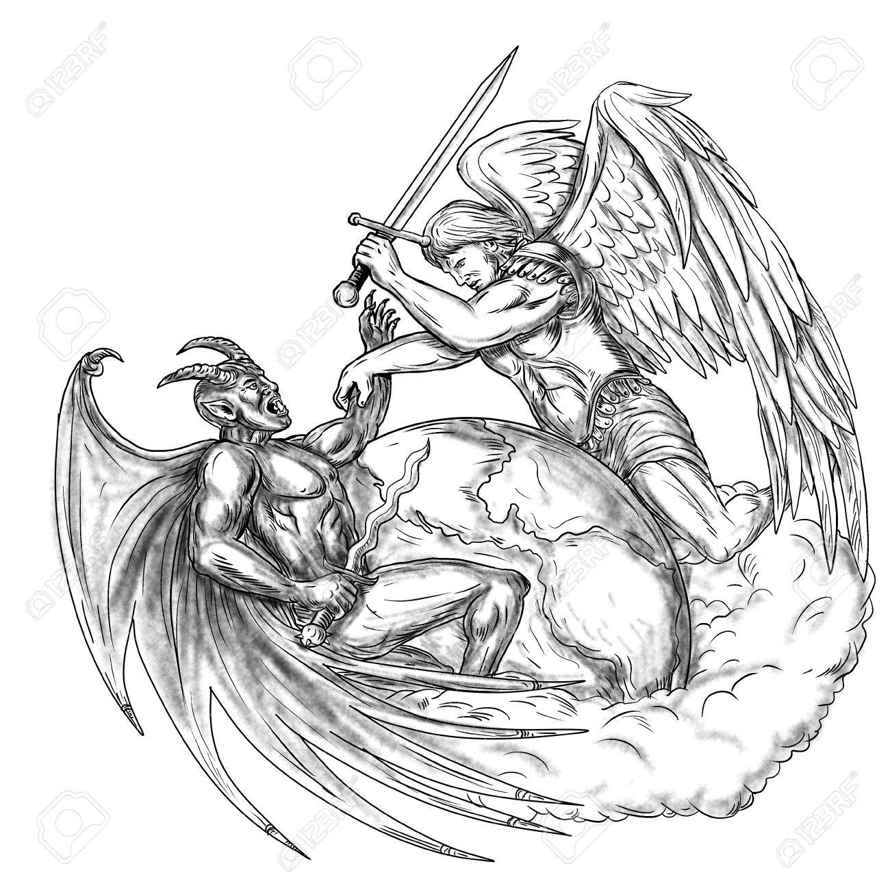 1300x1300 Tattoo Style Illustration Of Saint Michael The Archangel Angel
