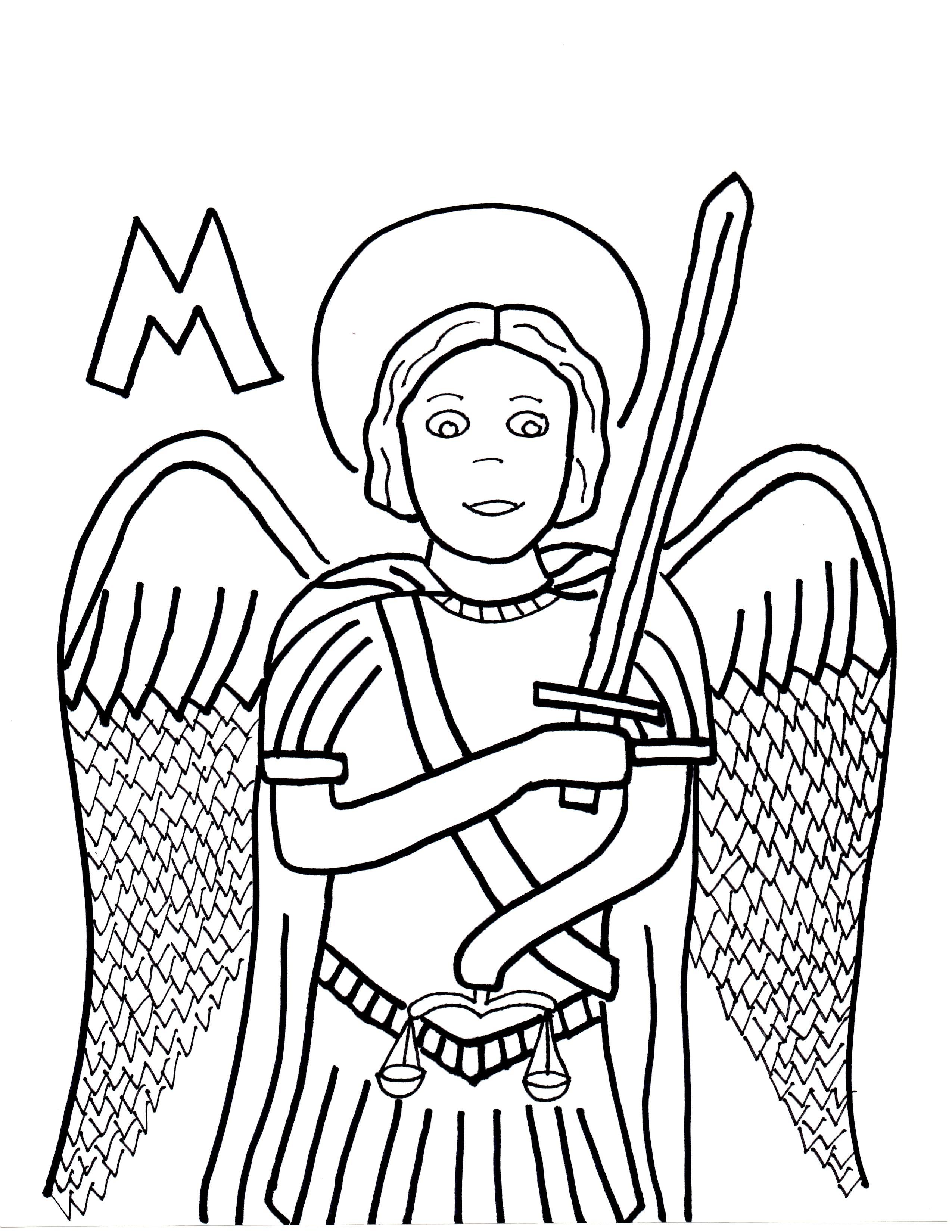 2550x3300 M Is For St. Michael The Archangel Saints To Color