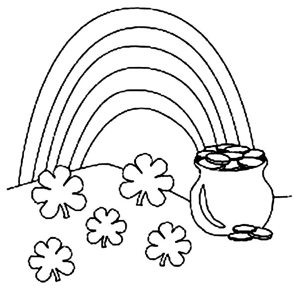 600x592 Pot Of Gold On St Patricks Day Coloring Page
