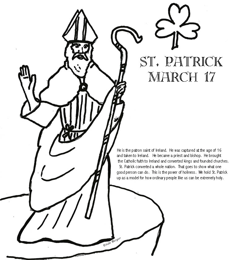 750x840 St Patrick Coloring Page