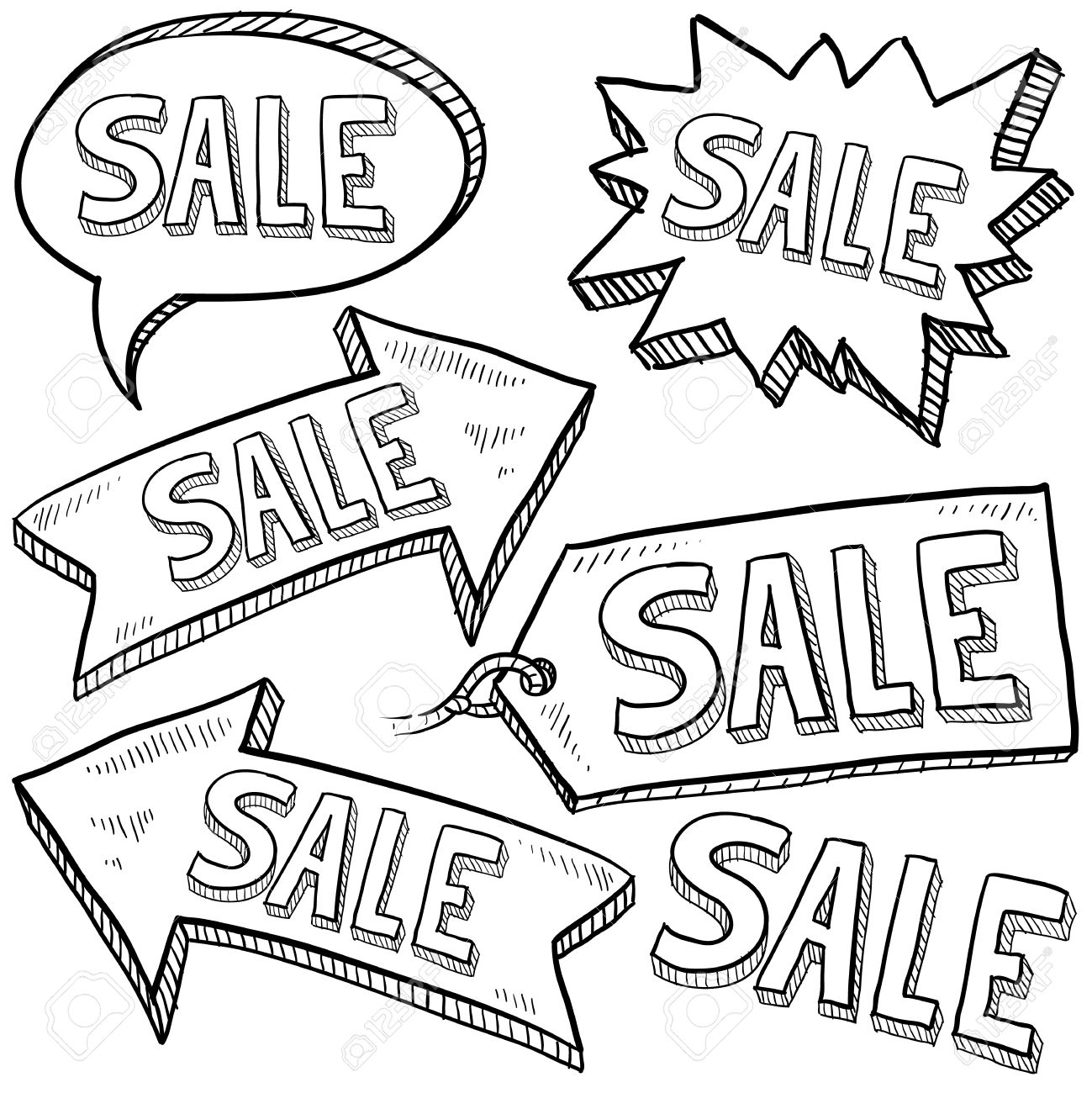 1299x1300 Doodle Style Sale Tag, Arrows, And Labels Sketch In Vector Format