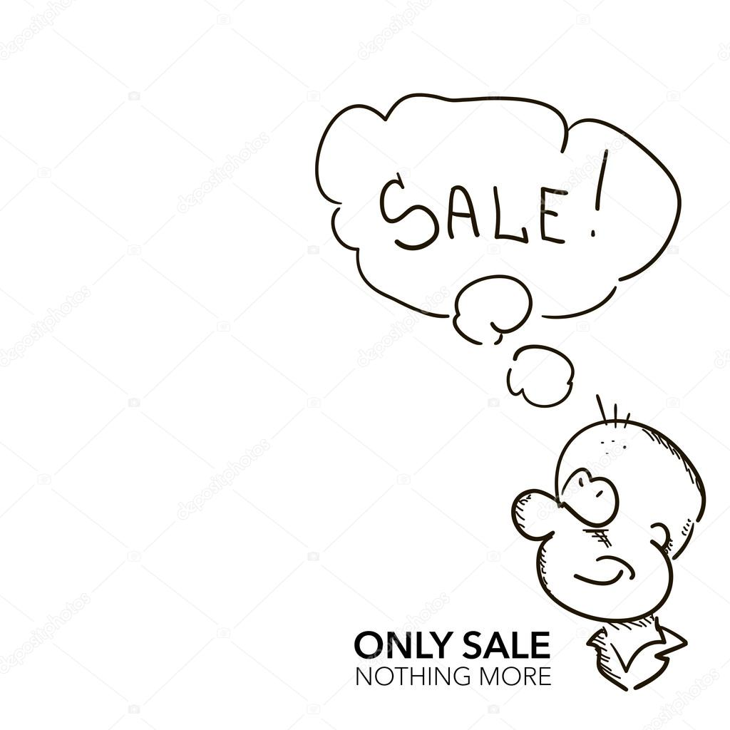 1024x1024 Hand Draw Sketch Cartoon Man With Sale Speech Bubble Vector Illu