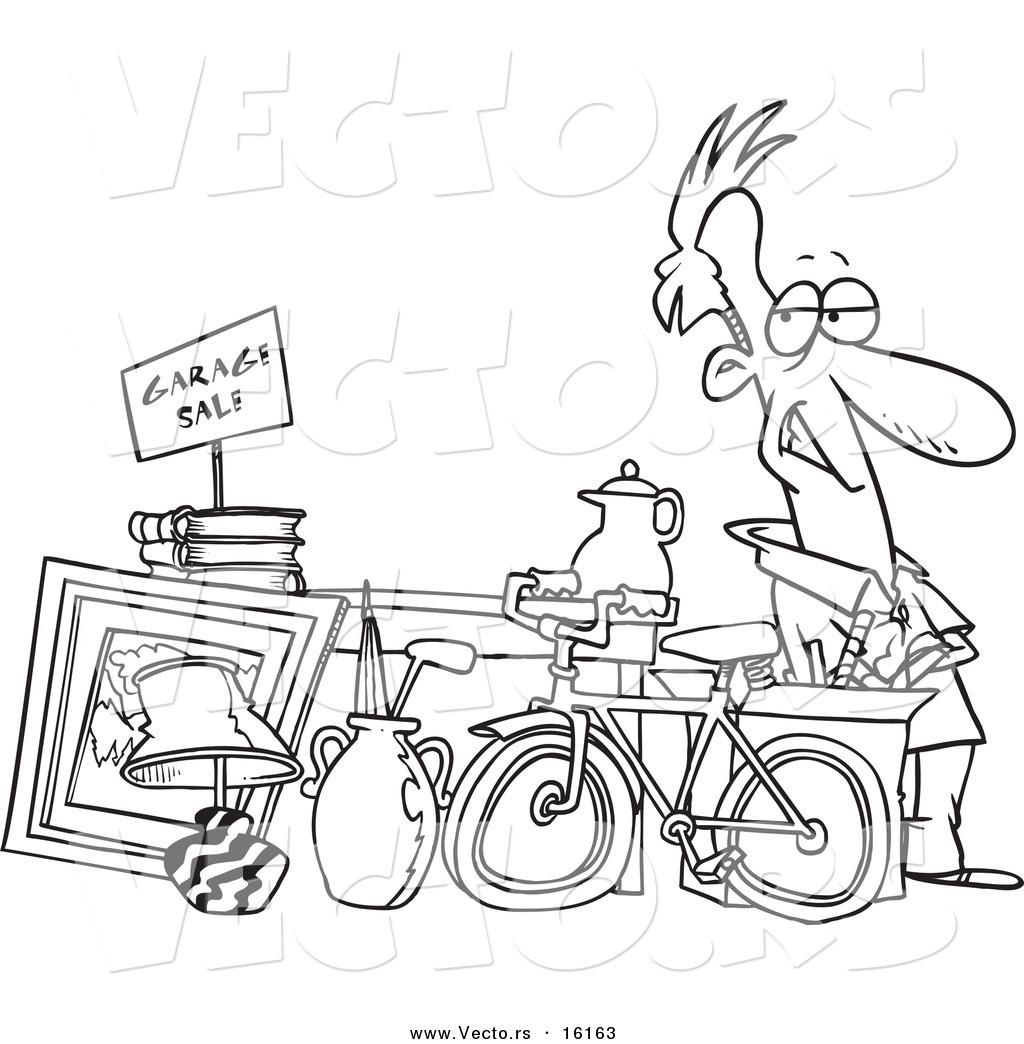 1024x1044 Vector Of A Cartoon Man Selling His Stuff