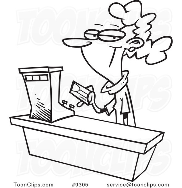 581x600 Cartoon Black And White Line Drawing Of A Female Sales Clerk