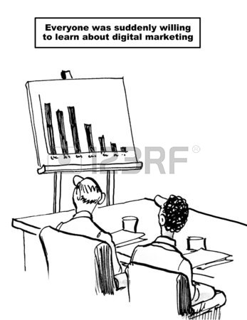 347x450 Cartoon Of Business Meeting And Chart With Declining Sales
