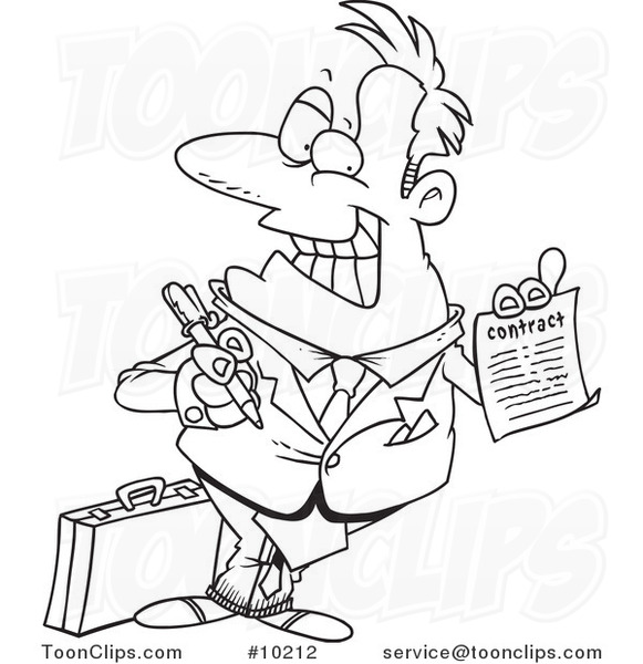 581x600 Cartoon Blacknd White Line Drawing Of Salesman Holding